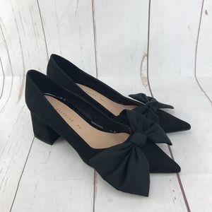 Zara Black Velvet Block Heel Pumps Size 5 NWOT